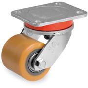 Rulli transpallet in poliuretano TR, nucleo in acciaio, supporto rotante piastra EE MHD