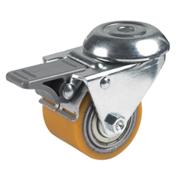 Rullini in poliuretano TR, nucleo in acciaio, supporto rotante a foro passante per collettività con freno anteriore