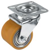 Rullini transpallet in poliuretano TR, nucleo in acciaio, supportorotante a piastra per collettività